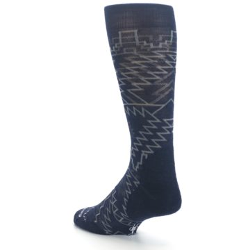 Image of Navy Gray Ruiz Wool Men's Casual Socks (side-2-back-15)