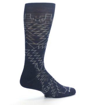 Image of Navy Gray Ruiz Wool Men's Casual Socks (side-1-23)
