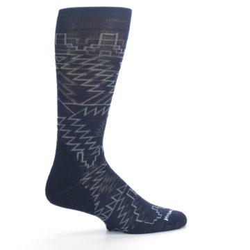Image of Navy Gray Ruiz Wool Men's Casual Socks (side-1-24)