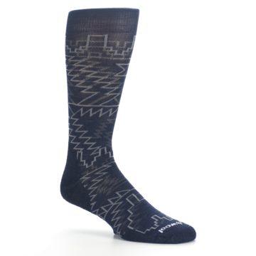 Image of Navy Gray Ruiz Wool Men's Casual Socks (side-1-26)