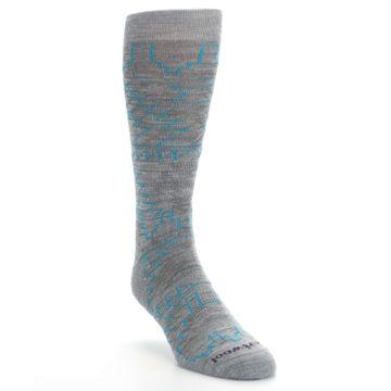 Image of Gray Teal Ruiz Wool Men's Casual Socks (side-1-front-02)