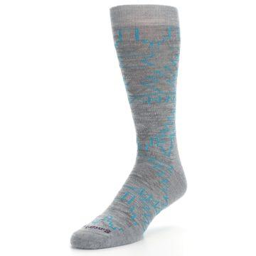 Image of Gray Teal Ruiz Wool Men's Casual Socks (side-2-front-08)