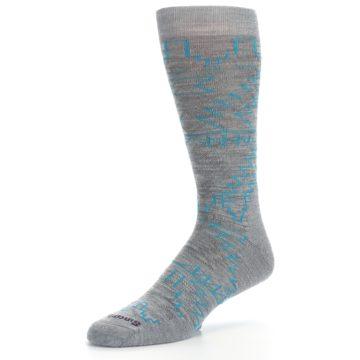 Image of Gray Teal Ruiz Wool Men's Casual Socks (side-2-09)
