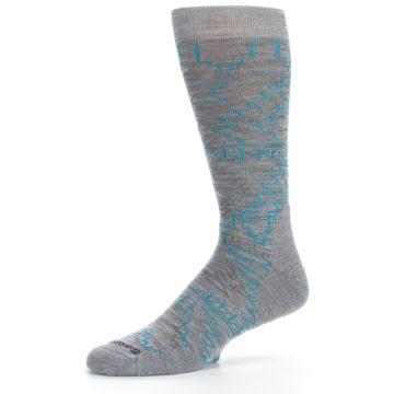 Image of Gray Teal Ruiz Wool Men's Casual Socks (side-2-10)