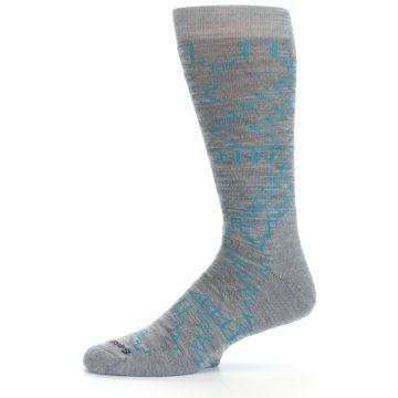 Image of Gray Teal Ruiz Wool Men's Casual Socks (side-2-11)