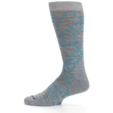 Image of Gray Teal Ruiz Wool Men's Casual Socks (side-2-12)