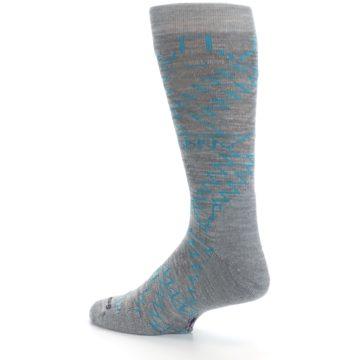 Image of Gray Teal Ruiz Wool Men's Casual Socks (side-2-back-14)