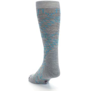 Image of Gray Teal Ruiz Wool Men's Casual Socks (side-2-back-16)
