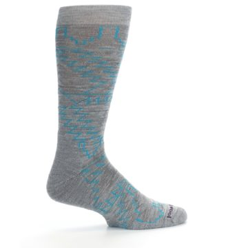 Image of Gray Teal Ruiz Wool Men's Casual Socks (side-1-24)
