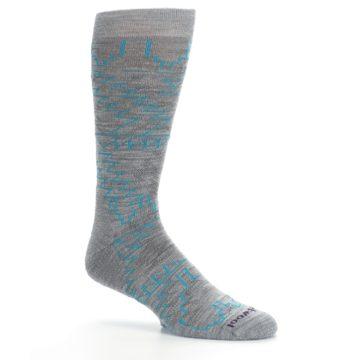 Image of Gray Teal Ruiz Wool Men's Casual Socks (side-1-26)