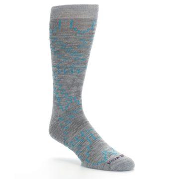 Image of Gray Teal Ruiz Wool Men's Casual Socks (side-1-27)