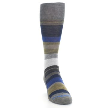 Image of Brown Gray Navy Saturnsphere Wool Men's Casual Socks (side-1-front-03)