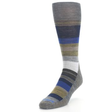 Image of Brown Gray Navy Saturnsphere Wool Men's Casual Socks (side-2-front-07)