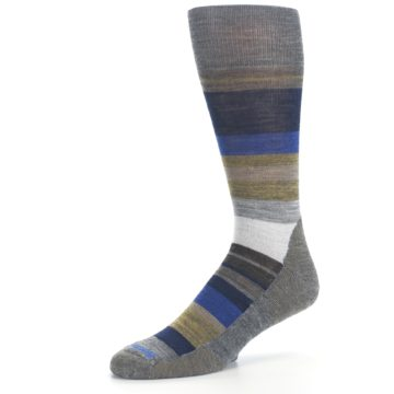 Image of Brown Gray Navy Saturnsphere Wool Men's Casual Socks (side-2-09)