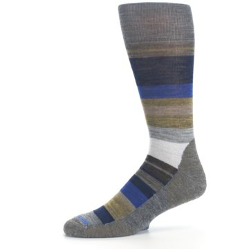 Image of Brown Gray Navy Saturnsphere Wool Men's Casual Socks (side-2-10)