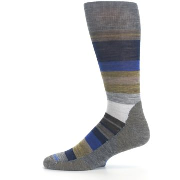 Image of Brown Gray Navy Saturnsphere Wool Men's Casual Socks (side-2-11)