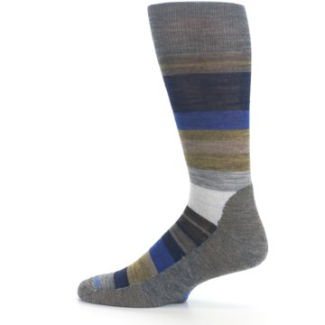 Image of Brown Gray Navy Saturnsphere Wool Men's Casual Socks (side-2-12)