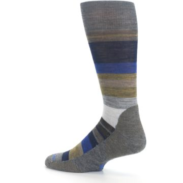 Image of Brown Gray Navy Saturnsphere Wool Men's Casual Socks (side-2-13)