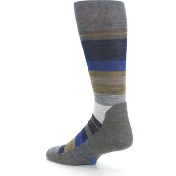 Image of Brown Gray Navy Saturnsphere Wool Men's Casual Socks (side-2-back-14)