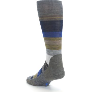 Image of Brown Gray Navy Saturnsphere Wool Men's Casual Socks (side-2-back-15)