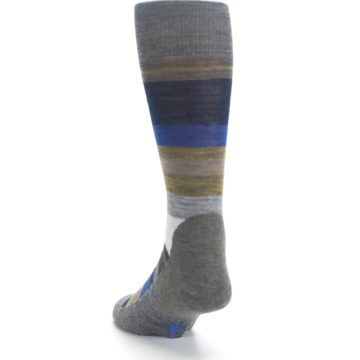 Image of Brown Gray Navy Saturnsphere Wool Men's Casual Socks (side-2-back-16)
