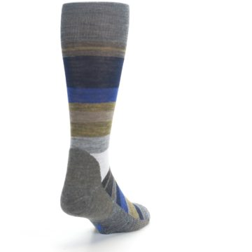 Image of Brown Gray Navy Saturnsphere Wool Men's Casual Socks (side-1-back-20)