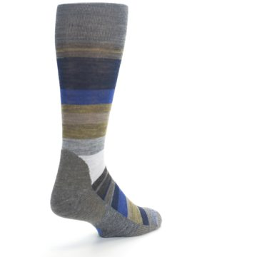 Image of Brown Gray Navy Saturnsphere Wool Men's Casual Socks (side-1-back-21)