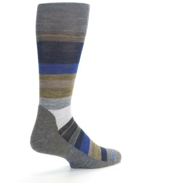 Image of Brown Gray Navy Saturnsphere Wool Men's Casual Socks (side-1-back-22)