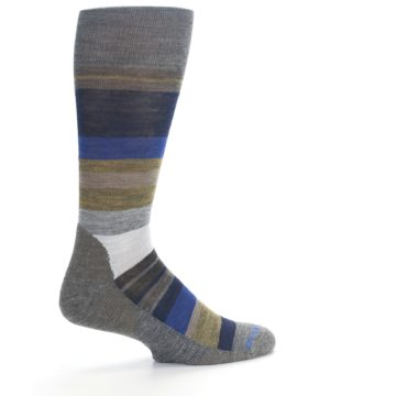 Image of Brown Gray Navy Saturnsphere Wool Men's Casual Socks (side-1-23)