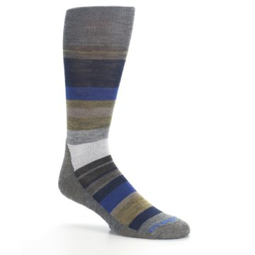 Image of Brown Gray Navy Saturnsphere Wool Men's Casual Socks (side-1-26)