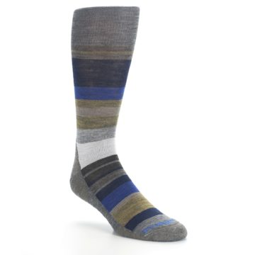 Image of Brown Gray Navy Saturnsphere Wool Men's Casual Socks (side-1-27)