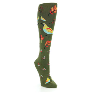 Image of Dark Olive Bird Well Quail-ified Women's Knee High Sock (side-1-front-02)