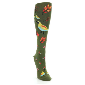 Image of Dark Olive Bird Well Quail-ified Women's Knee High Sock (side-1-front-03)