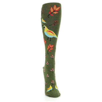 Image of Dark Olive Bird Well Quail-ified Women's Knee High Sock (front-04)