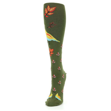 Image of Dark Olive Bird Well Quail-ified Women's Knee High Sock (side-2-front-07)