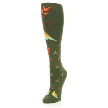 Image of Dark Olive Bird Well Quail-ified Women's Knee High Sock (side-2-front-08)