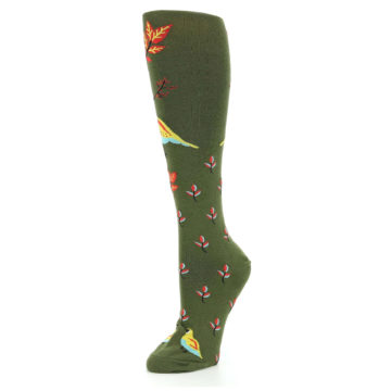 Image of Dark Olive Bird Well Quail-ified Women's Knee High Sock (side-2-09)