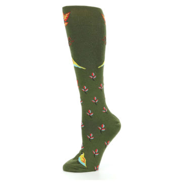 Image of Dark Olive Bird Well Quail-ified Women's Knee High Sock (side-2-11)