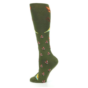Image of Dark Olive Bird Well Quail-ified Women's Knee High Sock (side-2-13)