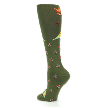Image of Dark Olive Bird Well Quail-ified Women's Knee High Sock (side-2-back-14)