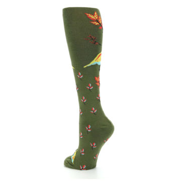 Image of Dark Olive Bird Well Quail-ified Women's Knee High Sock (side-2-back-15)
