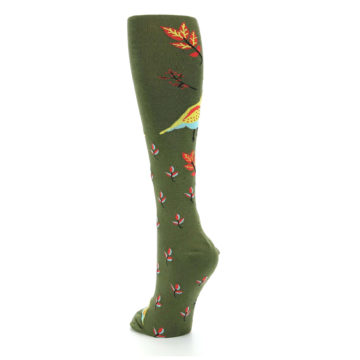Image of Dark Olive Bird Well Quail-ified Women's Knee High Sock (side-2-back-16)