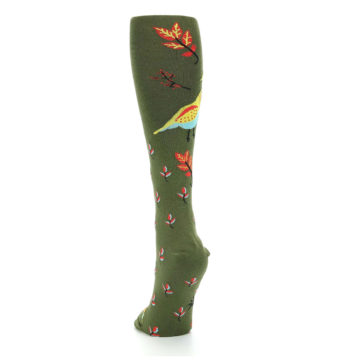 Image of Dark Olive Bird Well Quail-ified Women's Knee High Sock (back-17)
