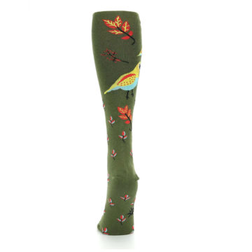 Image of Dark Olive Bird Well Quail-ified Women's Knee High Sock (back-18)