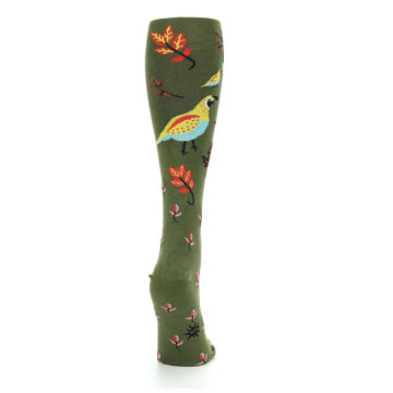 Image of Dark Olive Bird Well Quail-ified Women's Knee High Sock (side-1-back-20)