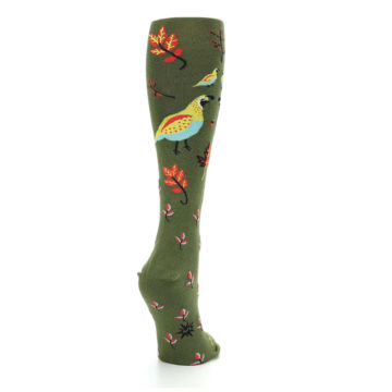 Image of Dark Olive Bird Well Quail-ified Women's Knee High Sock (side-1-back-21)