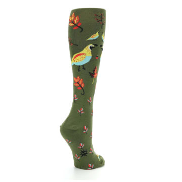Image of Dark Olive Bird Well Quail-ified Women's Knee High Sock (side-1-back-22)