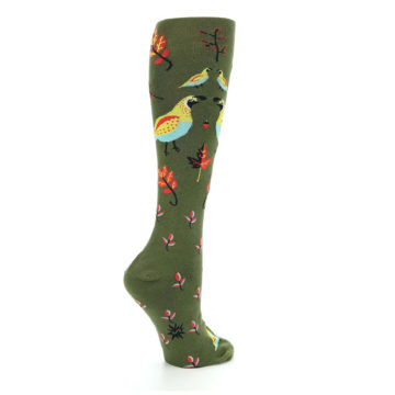 Image of Dark Olive Bird Well Quail-ified Women's Knee High Sock (side-1-23)