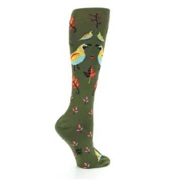Image of Dark Olive Bird Well Quail-ified Women's Knee High Sock (side-1-24)