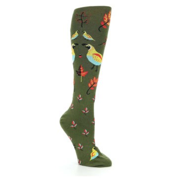 Image of Dark Olive Bird Well Quail-ified Women's Knee High Sock (side-1-27)